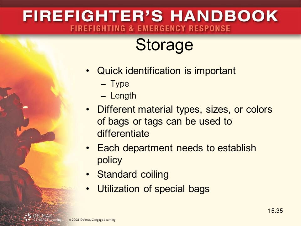 Storage Quick identification is important –Type –Length Different material types, sizes, or colors of bags or tags can be used to differentiate Each d