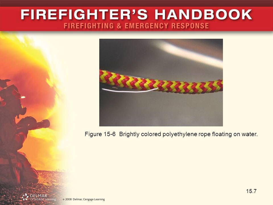 15.7 Figure 15-6 Brightly colored polyethylene rope floating on water.