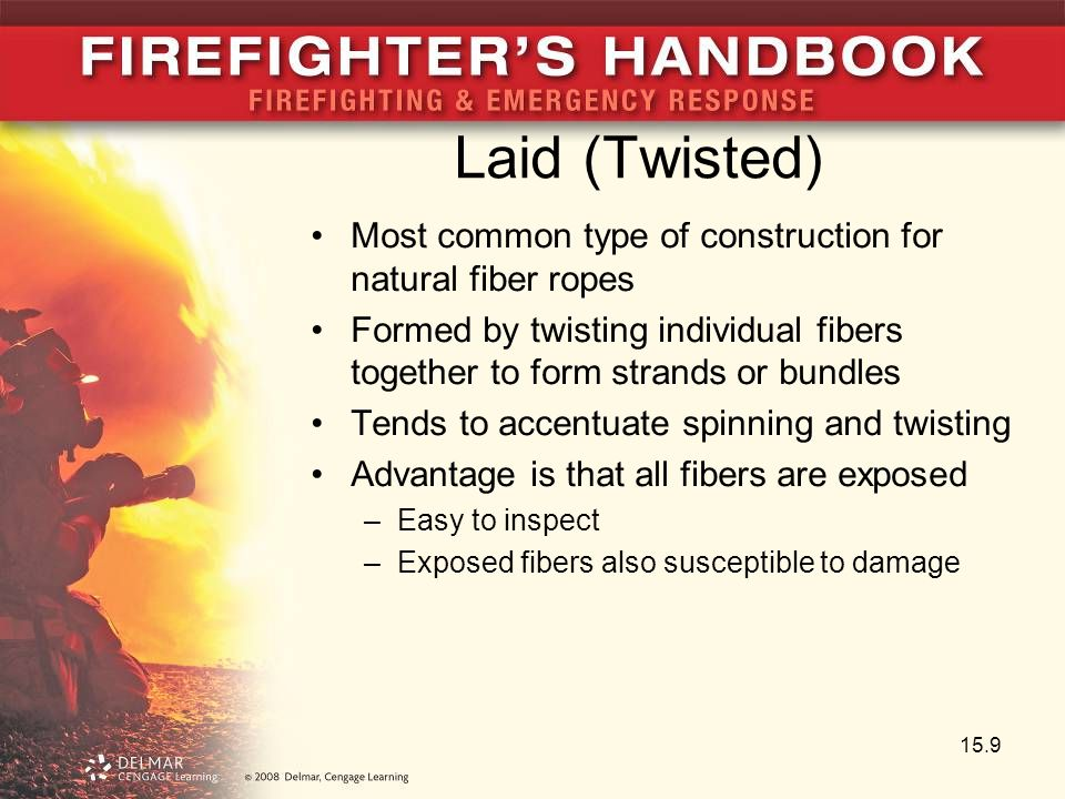 Laid (Twisted) Most common type of construction for natural fiber ropes Formed by twisting individual fibers together to form strands or bundles Tends