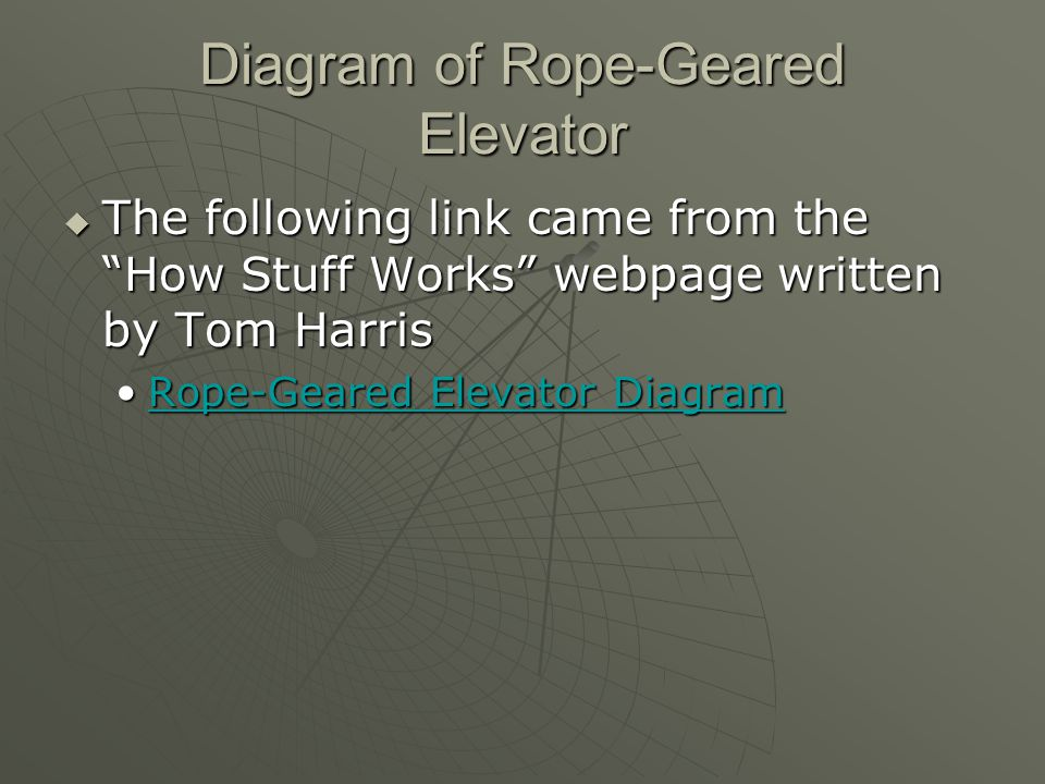 Diagram of Rope-Geared Elevator  The following link came from the How Stuff Works webpage written by Tom Harris Rope-Geared Elevator DiagramRope-Geared Elevator DiagramRope-Geared Elevator DiagramRope-Geared Elevator Diagram