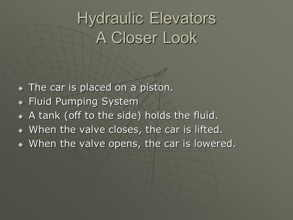 Hydraulic Elevators A Closer Look  The car is placed on a piston.