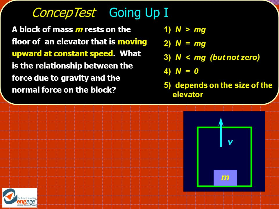 ConcepTest Going Up I A block of mass m rests on the floor of an elevator that is moving upward at constant speed.