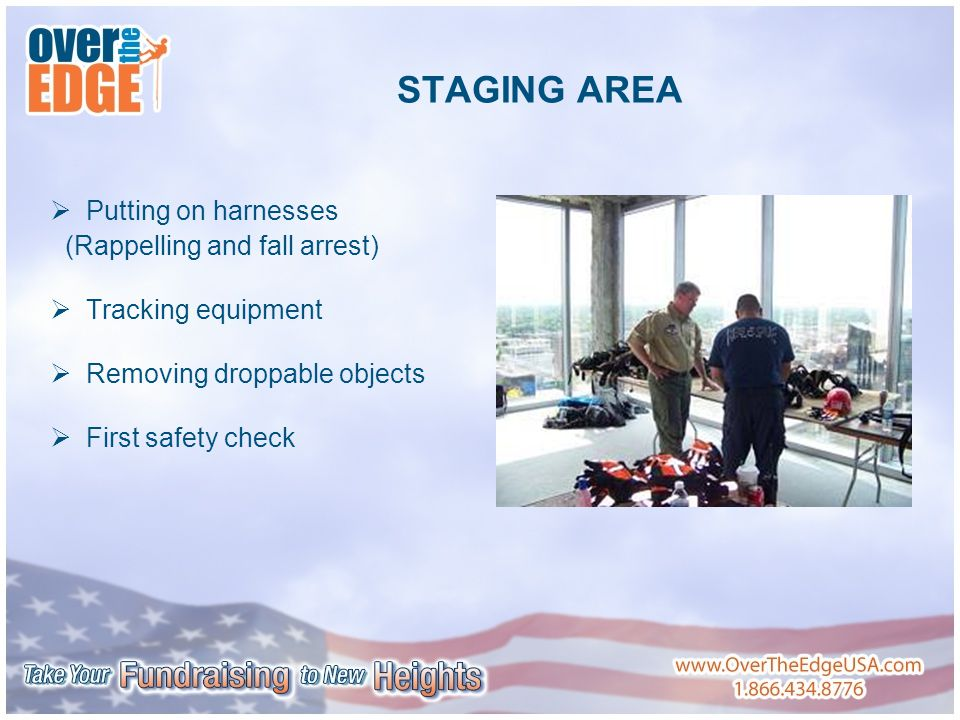 STAGING AREA  Putting on harnesses (Rappelling and fall arrest)  Tracking equipment  Removing droppable objects  First safety check