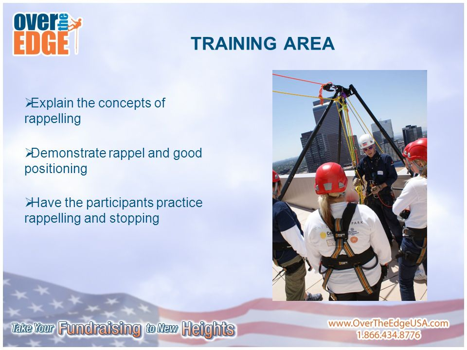 TRAINING AREA  Explain the concepts of rappelling  Demonstrate rappel and good positioning  Have the participants practice rappelling and stopping