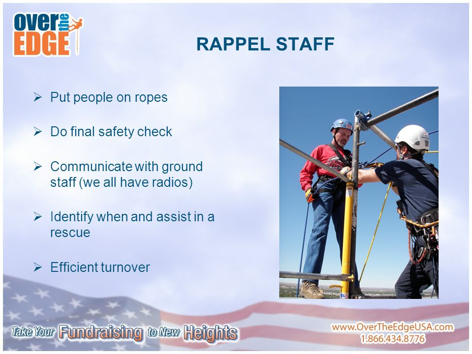 RAPPEL STAFF  Put people on ropes  Do final safety check  Communicate with ground staff (we all have radios)  Identify when and assist in a rescue  Efficient turnover