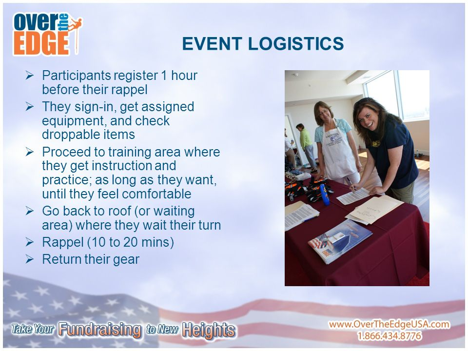 EVENT LOGISTICS  Participants register 1 hour before their rappel  They sign-in, get assigned equipment, and check droppable items  Proceed to training area where they get instruction and practice; as long as they want, until they feel comfortable  Go back to roof (or waiting area) where they wait their turn  Rappel (10 to 20 mins)  Return their gear