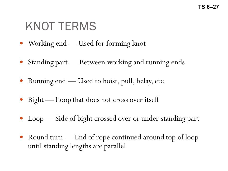 KNOT TERMS Working end — Used for forming knot Standing part — Between working and running ends Running end — Used to hoist, pull, belay, etc.