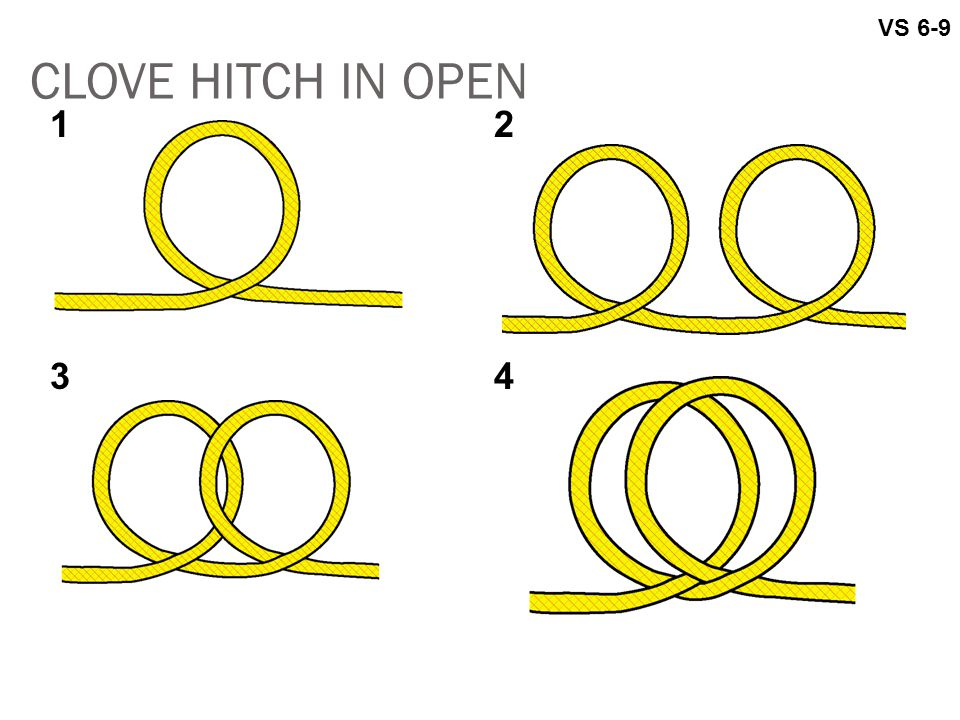 CLOVE HITCH IN OPEN VS 6-9 12 34
