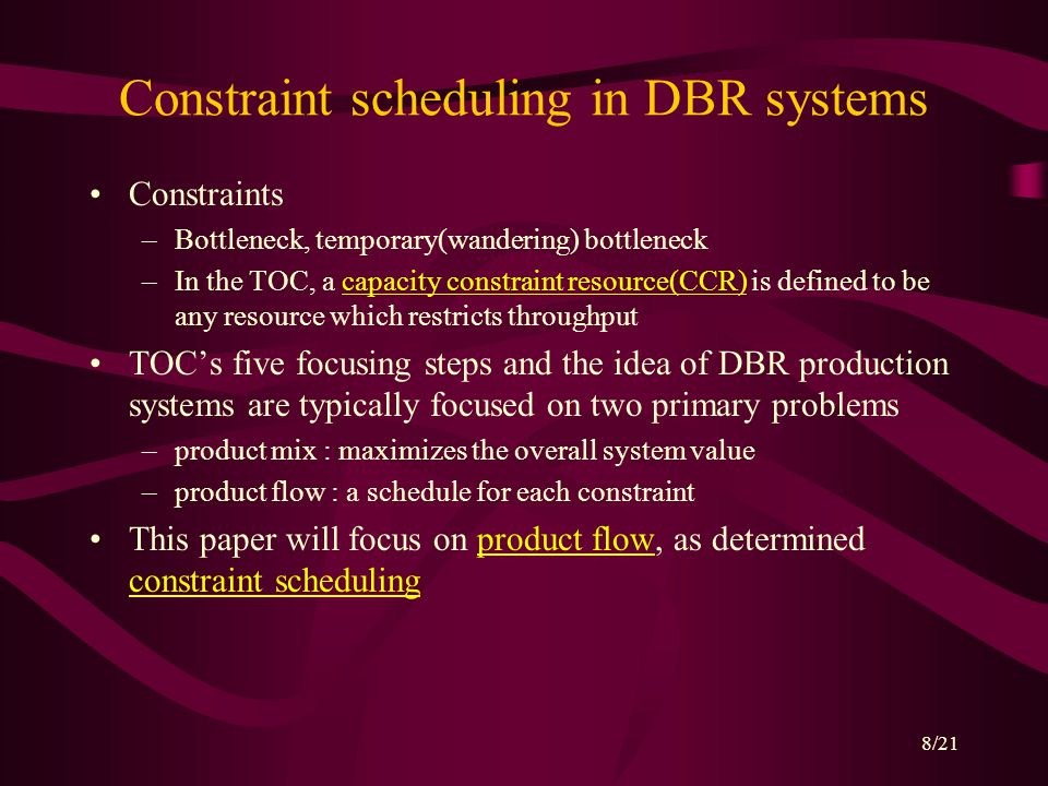 9/21 The multiple constraint schedules cannot be generated in isolation from each other.