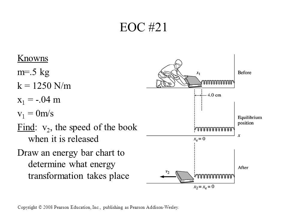 Copyright © 2008 Pearson Education, Inc., publishing as Pearson Addison-Wesley. EOC #21 Knowns m=.5 kg k = 1250 N/m x 1 = -.04 m v 1 = 0m/s Find: v 2,