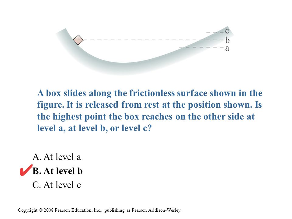 Copyright © 2008 Pearson Education, Inc., publishing as Pearson Addison-Wesley. A box slides along the frictionless surface shown in the figure. It is