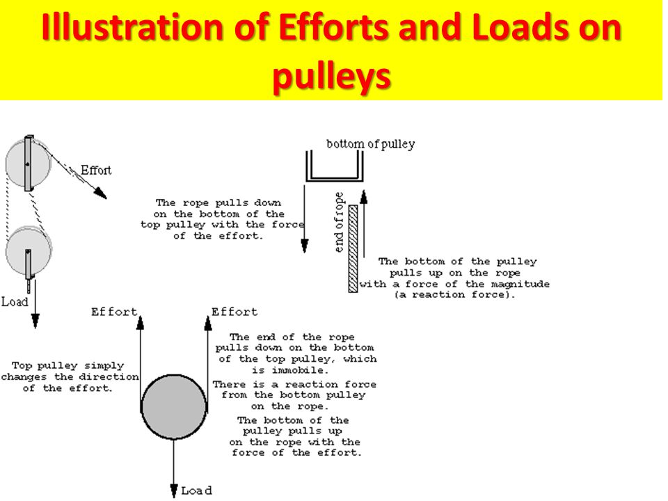 Illustration of Efforts and Loads on pulleys