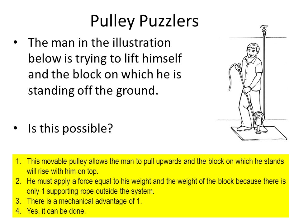Evaluation Pulley Puzzlers The man in the illustration below is trying to lift himself and the block on which he is standing off the ground. Is this p