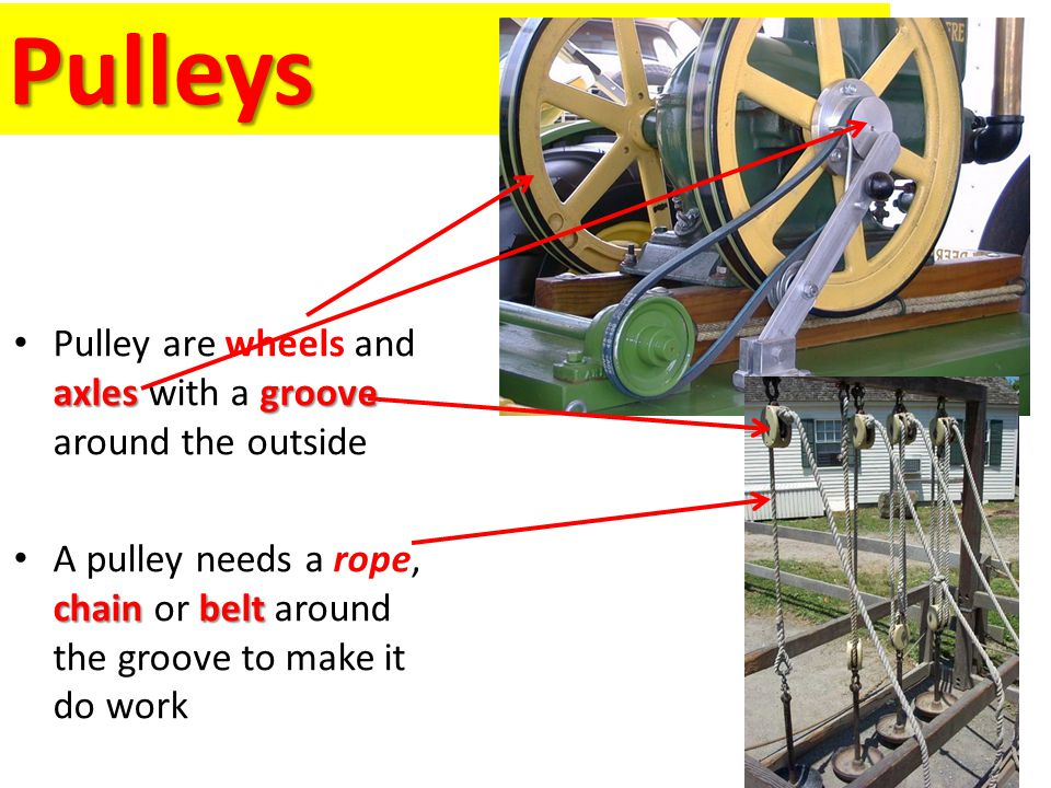 Pulleys axlesgroove Pulley are wheels and axles with a groove around the outside chainbelt A pulley needs a rope, chain or belt around the groove to m