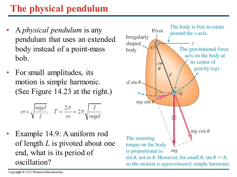 Copyright © 2012 Pearson Education Inc. The physical pendulum A physical pendulum is any pendulum that uses an extended body instead of a point-mass b