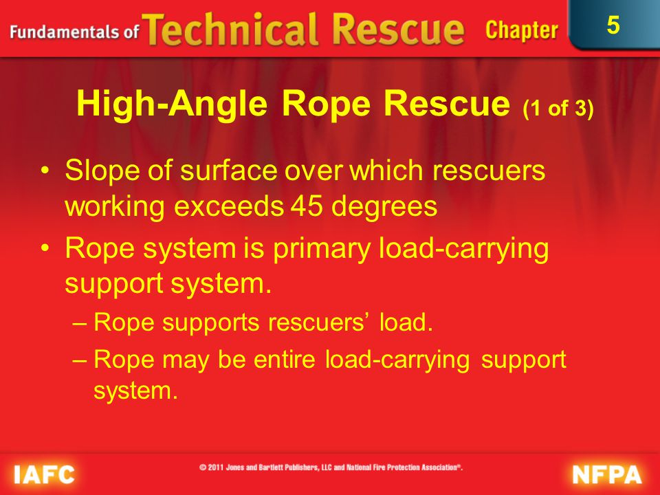 5 High-Angle Rope Rescue (2 of 3) May require different types of equipment depending on situation Victims may be suffering life-threatening illness or traumatic injury.