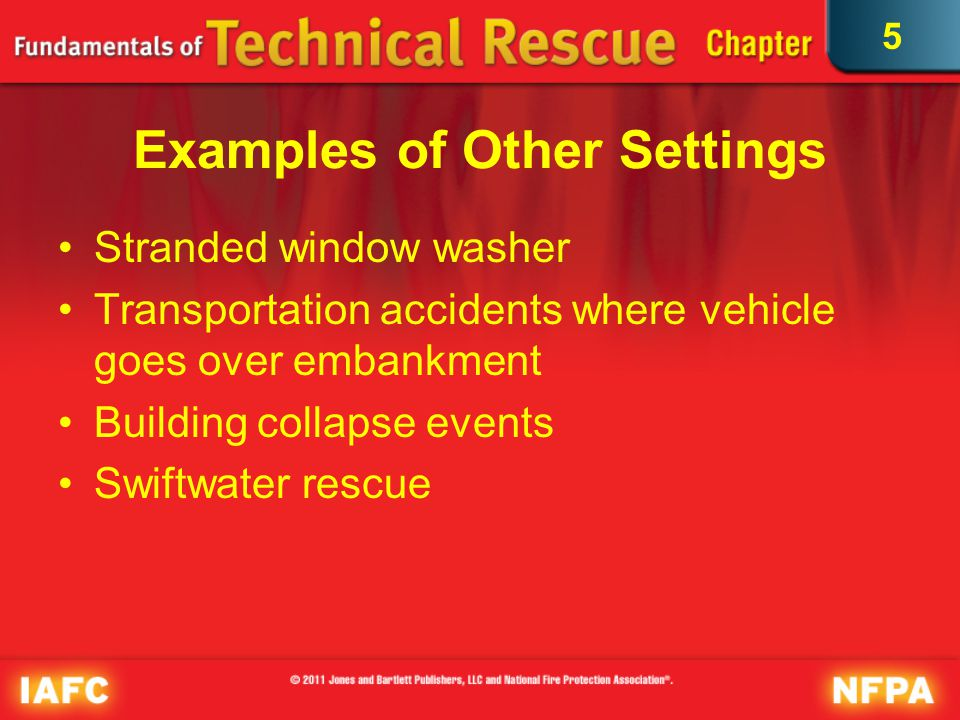 5 Applicable Standards NFPA 1006, Standard for Technical Rescuer Professional Qualifications NFPA 1670, Standard on Operations and Training for Technical Search and Rescue Incidents