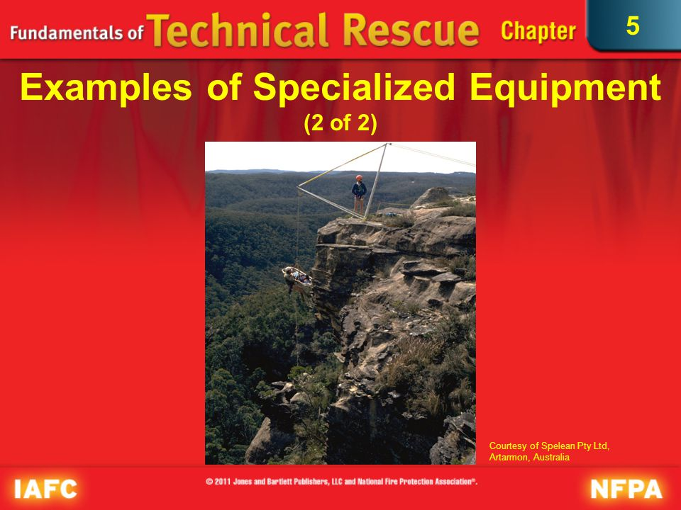 5 Rescue Team Resources Requires specially trained personnel or teams and unique training and skills to use rope rescue tools and equipment correctly and to build and operate rope rescue systems safely