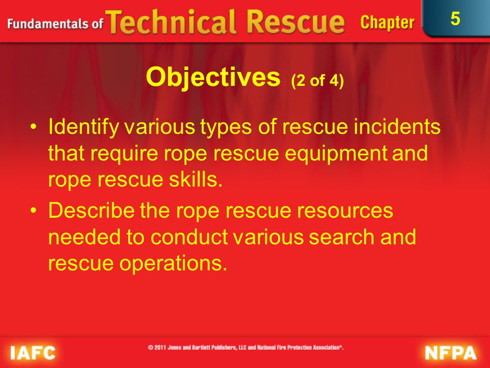 5 Objectives (3 of 4) Describe response planning and incident management requirements related to a search and rescue incident that requires rope rescue teams.