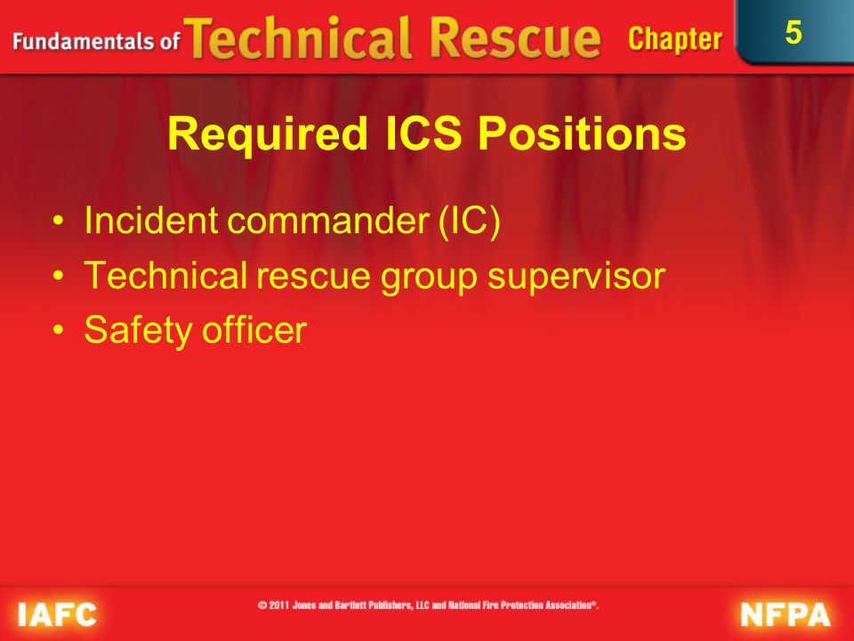 5 Technical Rescue Group Supervisor (1 of 2) Hazard mitigation Entry team readiness Rapid intervention capabilities Emergency medical patient care