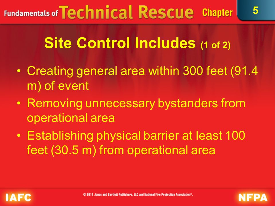 5 Site Control Includes (2 of 2) Controlling traffic Eliminating vibration sources Identifying and monitoring existing hazards within physical barrier