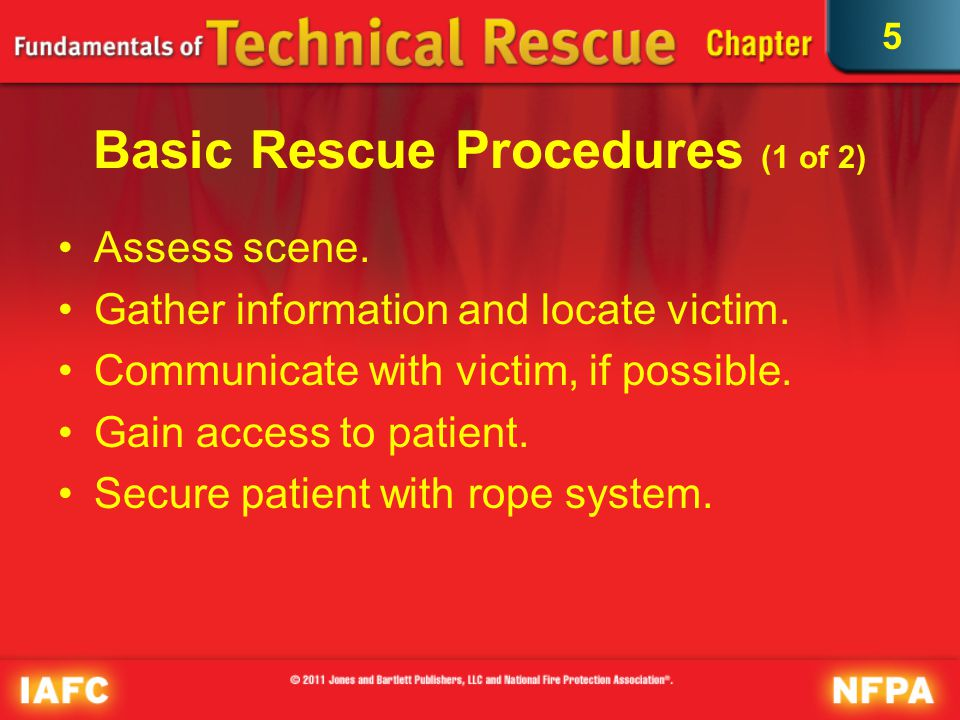 5 Basic Rescue Procedures (2 of 2) Package the patient.