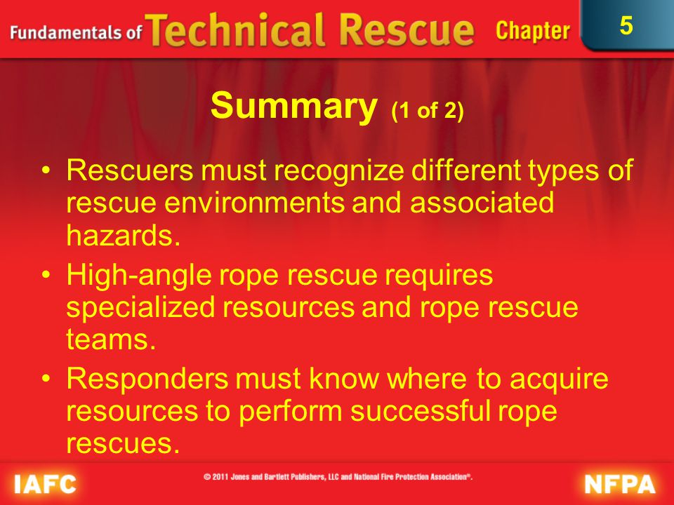 5 Summary (2 of 2) Rope rescue hazards include fall hazards, falling debris, energy hazards, environmental hazards, and crowd control issues.