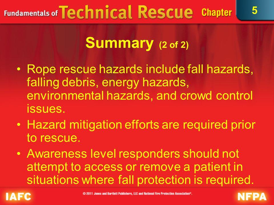 5 Summary (2 of 2) Rope rescue hazards include fall hazards, falling debris, energy hazards, environmental hazards, and crowd control issues. Hazard m