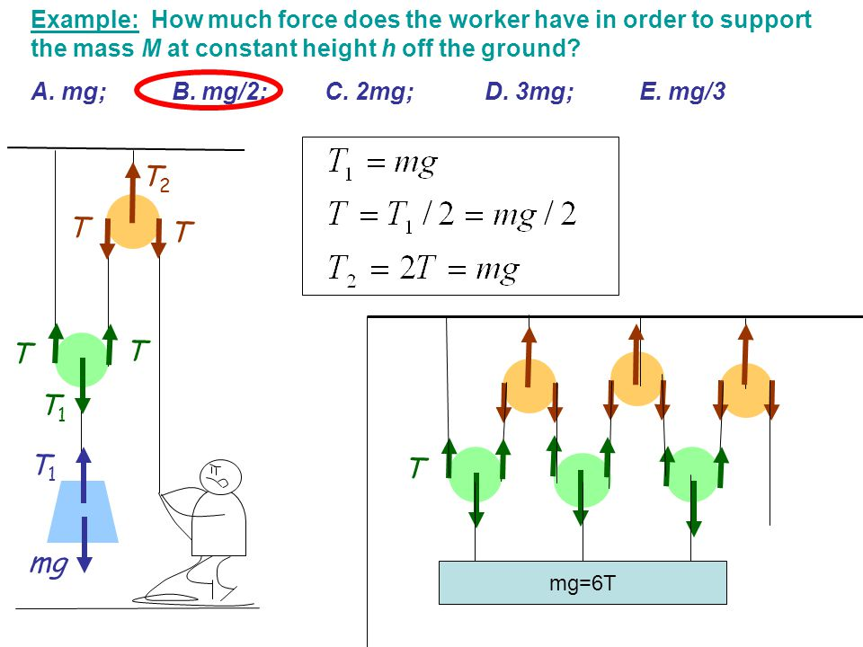 Example: How much force does the worker have in order to support the mass M at constant height h off the ground? A. mg; B. mg/2; C. 2mg; D. 3mg; E. mg