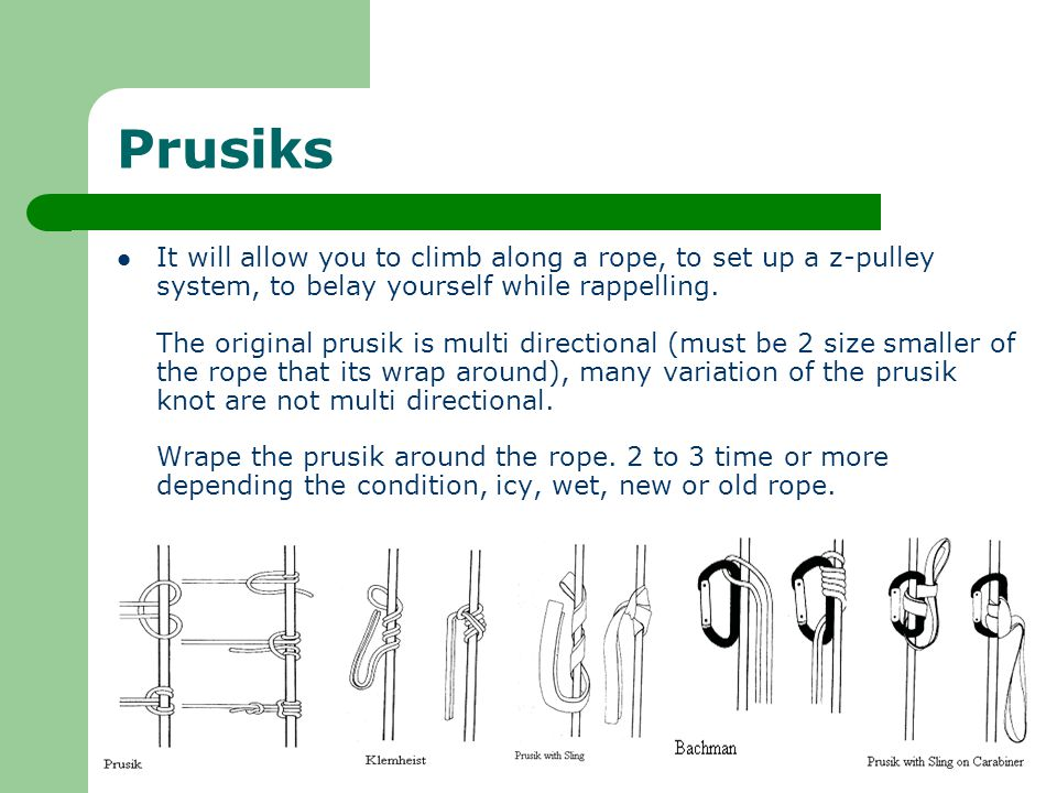 Prusiks It will allow you to climb along a rope, to set up a z-pulley system, to belay yourself while rappelling.