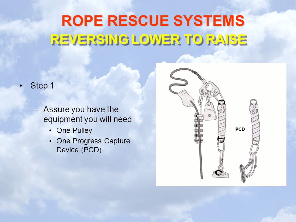 ROPE RESCUE SYSTEMS REVERSING LOWER TO RAISE Step 1 –Assure you have the equipment you will need One Pulley One Progress Capture Device (PCD)