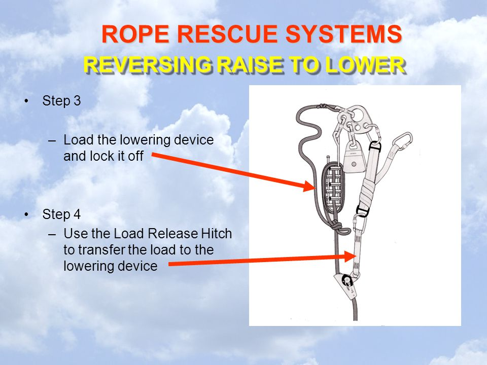 ROPE RESCUE SYSTEMS REVERSING RAISE TO LOWER Step 3 –Load the lowering device and lock it off Step 4 –Use the Load Release Hitch to transfer the load to the lowering device