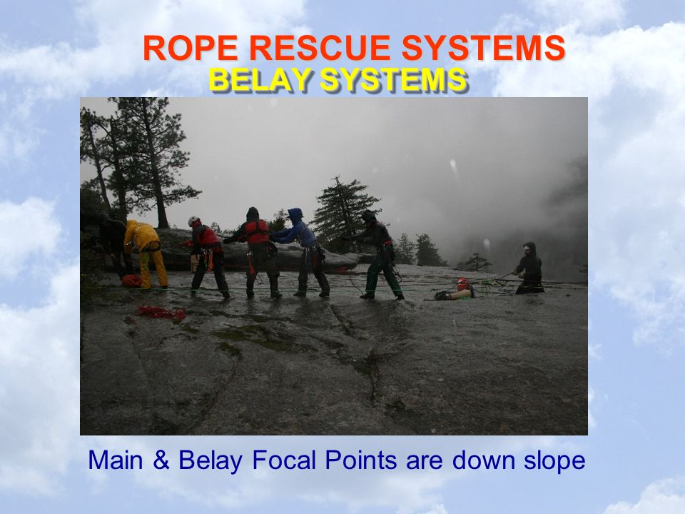 ROPE RESCUE SYSTEMS BELAY SYSTEMS Main & Belay Focal Points are down slope