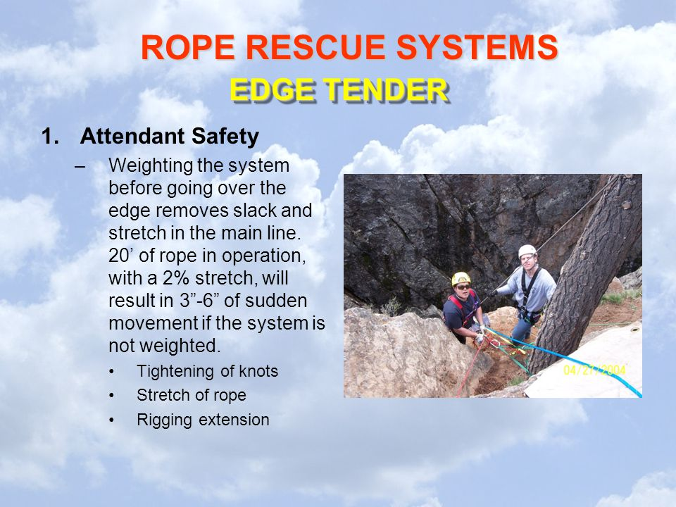 ROPE RESCUE SYSTEMS 1.Attendant Safety –Weighting the system before going over the edge removes slack and stretch in the main line.