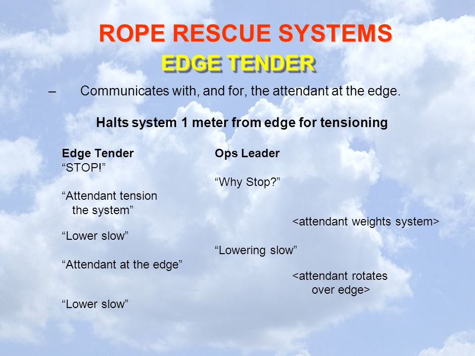 ROPE RESCUE SYSTEMS EDGE TENDER –Communicates with, and for, the attendant at the edge. Halts system 1 meter from edge for tensioning Edge TenderOps L