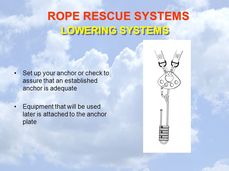 ROPE RESCUE SYSTEMS LOWERING SYSTEMS Set up your anchor or check to assure that an established anchor is adequate Equipment that will be used later is attached to the anchor plate