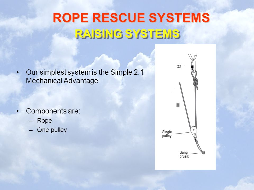 ROPE RESCUE SYSTEMS RAISING SYSTEMS Our simplest system is the Simple 2:1 Mechanical Advantage Components are: –Rope –One pulley