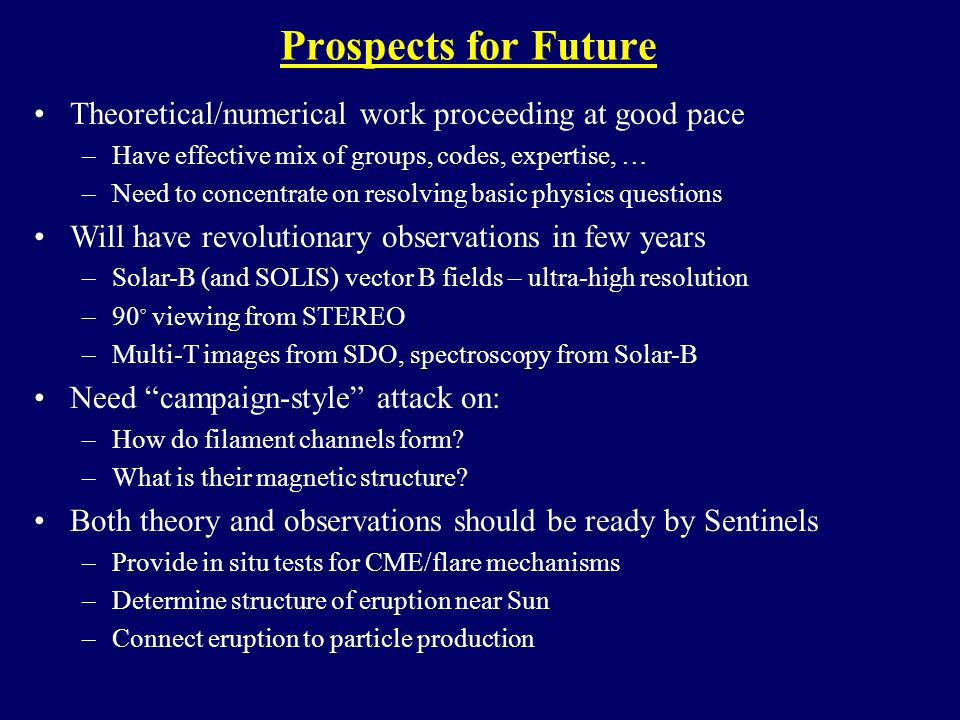 Prospects for Future Theoretical/numerical work proceeding at good pace –Have effective mix of groups, codes, expertise, … –Need to concentrate on resolving basic physics questions Will have revolutionary observations in few years –Solar-B (and SOLIS) vector B fields – ultra-high resolution –90 ◦ viewing from STEREO –Multi-T images from SDO, spectroscopy from Solar-B Need campaign-style attack on: –How do filament channels form.