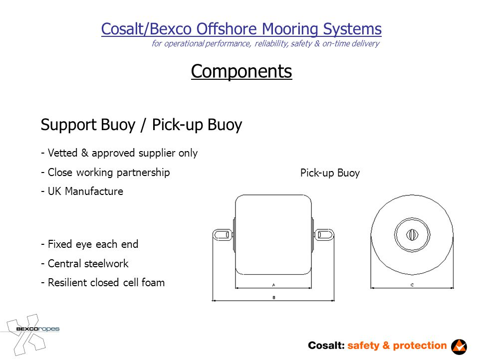 Components Cosalt/Bexco Offshore Mooring Systems for operational performance, reliability, safety & on-time delivery Support Buoy / Pick-up Buoy - Vetted & approved supplier only - Close working partnership - UK Manufacture Pick-up Buoy - Fixed eye each end - Central steelwork - Resilient closed cell foam