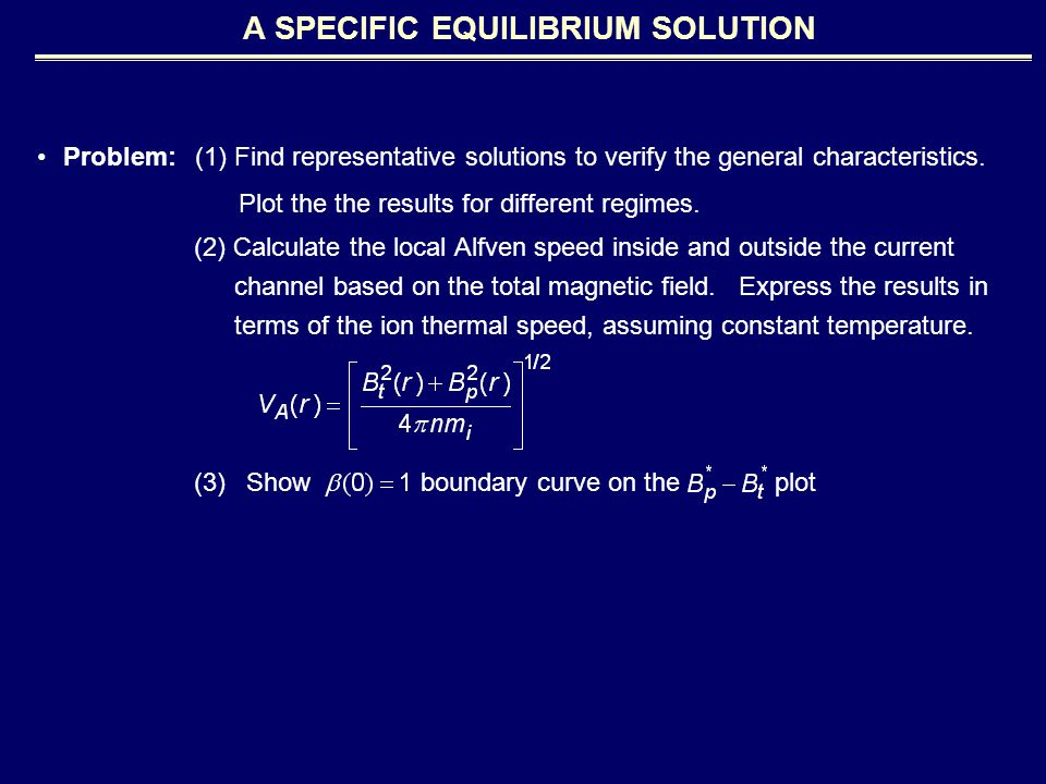 Problem: (1) Find representative solutions to verify the general characteristics.