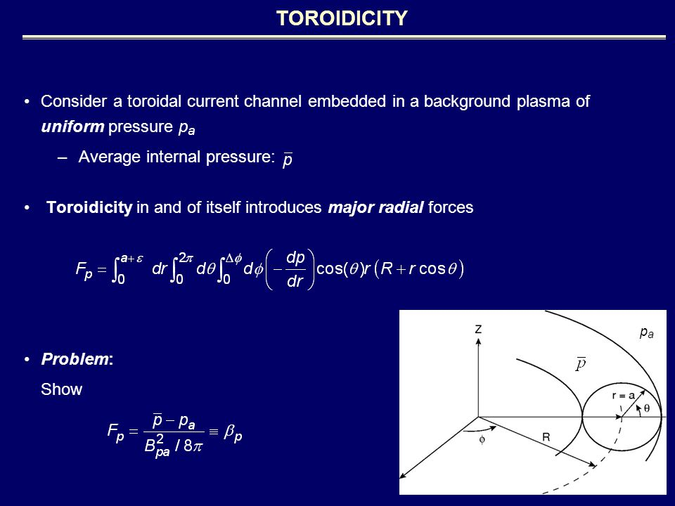 Consider a toroidal current channel embedded in a background plasma of uniform pressure p a –Average internal pressure: Toroidicity in and of itself introduces major radial forces Problem: Show TOROIDICITY papa