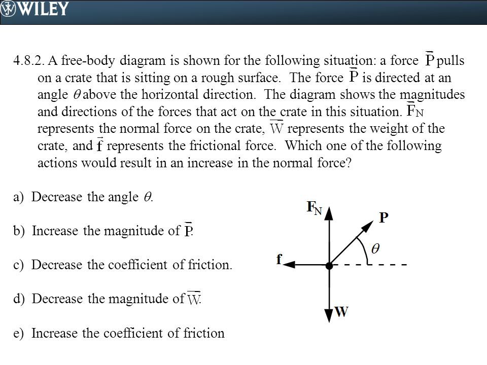 4.8.2. A free-body diagram is shown for the following situation: a force pulls on a crate that is sitting on a rough surface. The force is directed at