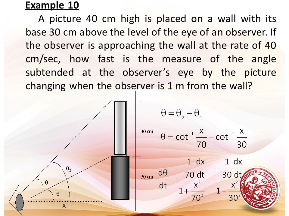 Example 10 A picture 40 cm high is placed on a wall with its base 30 cm above the level of the eye of an observer. If the observer is approaching the