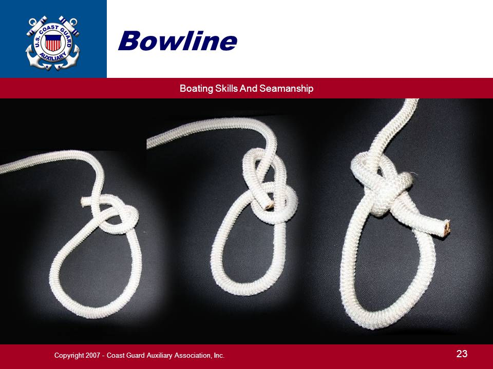Boating Skills And Seamanship 23 Copyright 2007 - Coast Guard Auxiliary Association, Inc. Bowline