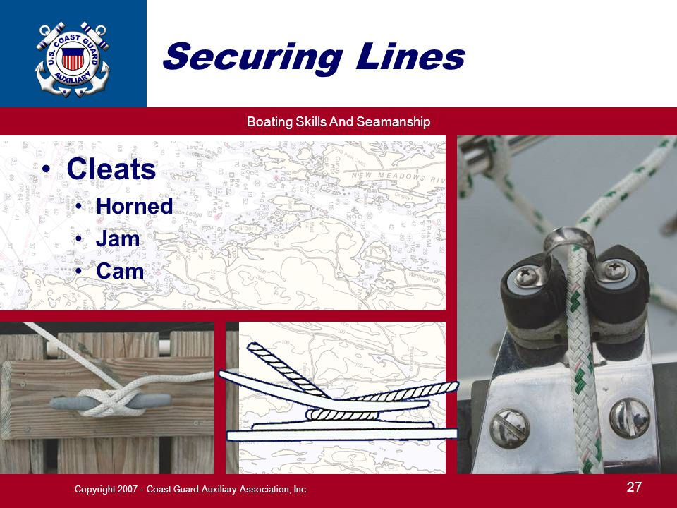 Boating Skills And Seamanship 27 Copyright 2007 - Coast Guard Auxiliary Association, Inc. Securing Lines Cleats Horned Jam Cam