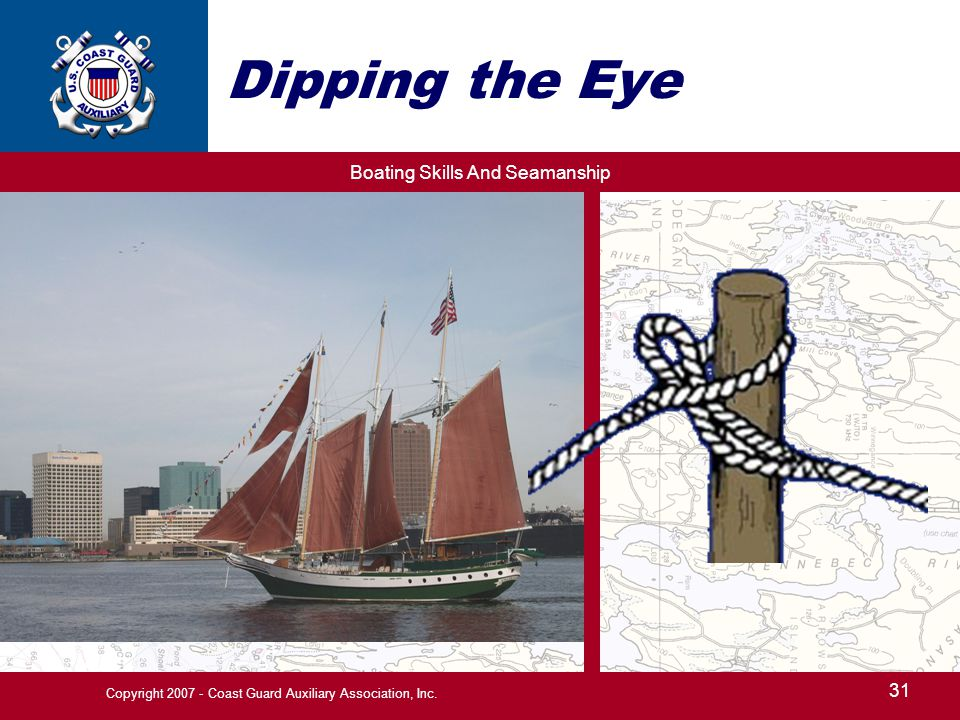 Boating Skills And Seamanship 31 Copyright 2007 - Coast Guard Auxiliary Association, Inc. Dipping the Eye