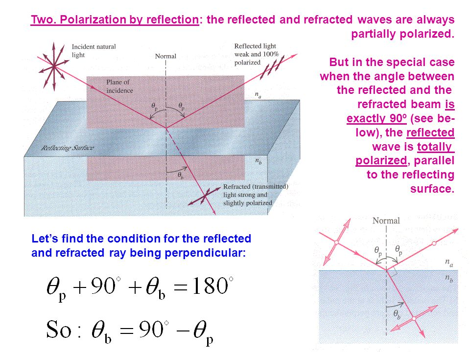 Two. Polarization by reflection: the reflected and refracted waves are always partially polarized.