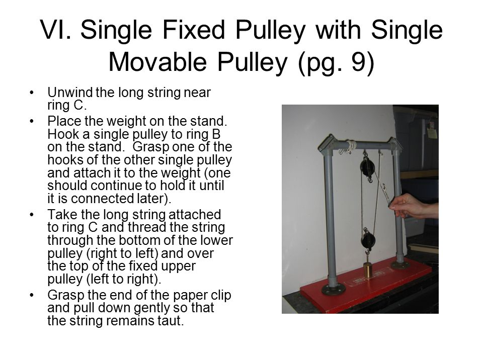 VI. Single Fixed Pulley with Single Movable Pulley (pg.