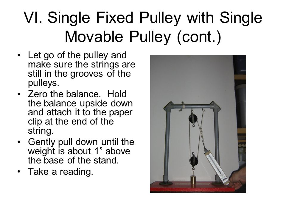 VI. Single Fixed Pulley with Single Movable Pulley (cont.) Let go of the pulley and make sure the strings are still in the grooves of the pulleys. Zer