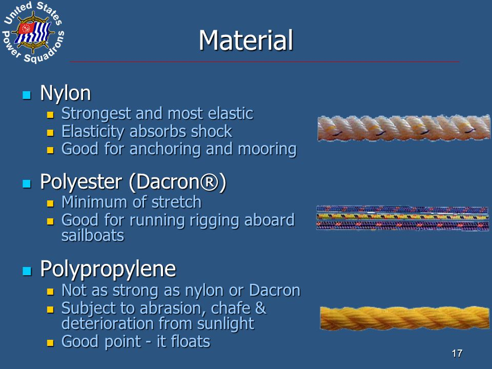 17 Nylon Nylon Strongest and most elastic Strongest and most elastic Elasticity absorbs shock Elasticity absorbs shock Good for anchoring and mooring Good for anchoring and mooring Polyester (Dacron®) Polyester (Dacron®) Minimum of stretch Minimum of stretch Good for running rigging aboard sailboats Good for running rigging aboard sailboats Polypropylene Polypropylene Not as strong as nylon or Dacron Not as strong as nylon or Dacron Subject to abrasion, chafe & deterioration from sunlight Subject to abrasion, chafe & deterioration from sunlight Good point - it floats Good point - it floats Material